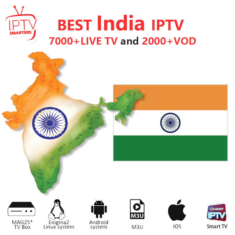 India IPTV M3U IPTV 7000+ Live HD Channels For M3u Mag Box Smart Tv Code Sports Adults Iptv Subscription Arabic Iptv Box Ugoos