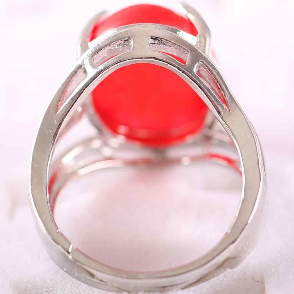 1Pcs แหวนเงินเครื่องประดับสำหรับของขวัญผู้หญิงหินธรรมชาติรูปไข่ Cabochon CAB ลูกปัดสีแดง Jades แหวนนิ้วปรับได้ k163