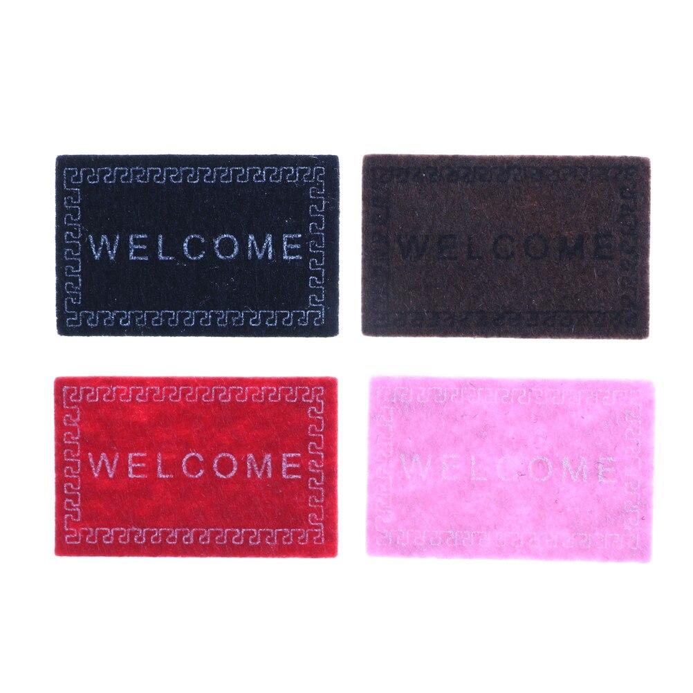 1pc Kids Dollhouse Mini Welcome Non-woven Fabric Door Mat Carpet 1/12 Dollhouse Miniature Decor 6cm*4cm
