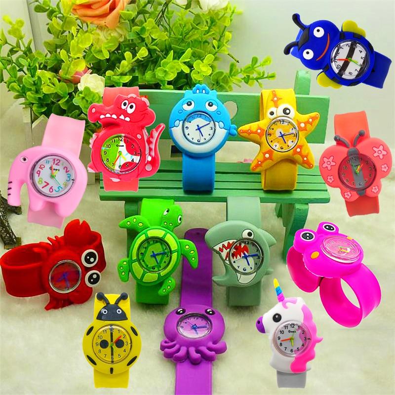 Cartoon  Crab/Turtle/Shark Baby Toys Kids Watches Silicone Band Slap Watch Children Clock Creative Quartz Wristwatch Kid Gift