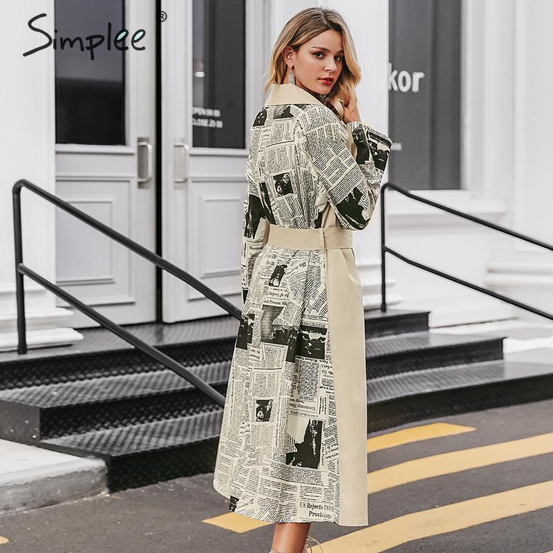 Simplee Turn Down Collar Women Trench Coat Patchwork Print Autumn Winter Female Coat Sash Belted Pockets Ladies Long Overcoat