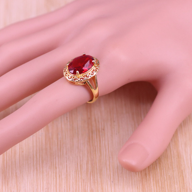 Risenj Dubai Luxury Style Many Colors Big Red Stone Gold Color Jewelry For Women Adjustable Ring Necklace Set Free Shipping 2