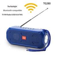 Portátil inalámbrico compatible con Bluetooth altavoz estéreo con Supergraves Subwoofer apoyo TWS TF AUX /USB/AUX/ FM Radio Con linterna