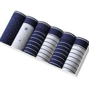 Image 1 - Bokserki męskie modalne bielizna 6 sztuk/partia mężczyźni Boxershorts w paski szary kalesony ubrania oddychające elastyczne spodnie męskie cuecas