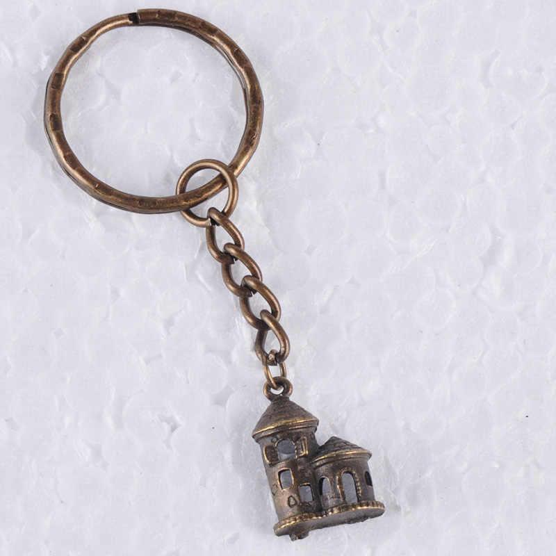 Vintage Warna Perak Antik Cina Putaran Jimat Gantungan Kunci Paduan Logam Gantungan Kunci Perhiasan Hadiah untuk Wanita Wanita Boutique