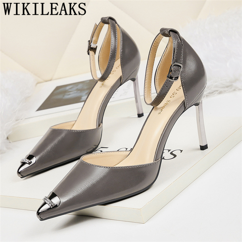 fashion rhinestone heels pointed heels mary jane shoes wedding shoes office shoes women dress shoes women zapatos de mujer tacón image