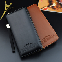 цена на New Hot Sale Men's Wallet Long Zip Soft Leather Bag Korean Casual Men's Large Capacity Handbag Wallet Bag