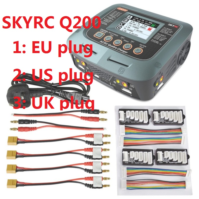 SKYRC Q200 1 To 4 Intelligent Charger/Discharger AC/DC Drone Balance Charger For Lipo/LiHV/Lithium-iron/Ion/NiMH/NiCD/Lead-acid