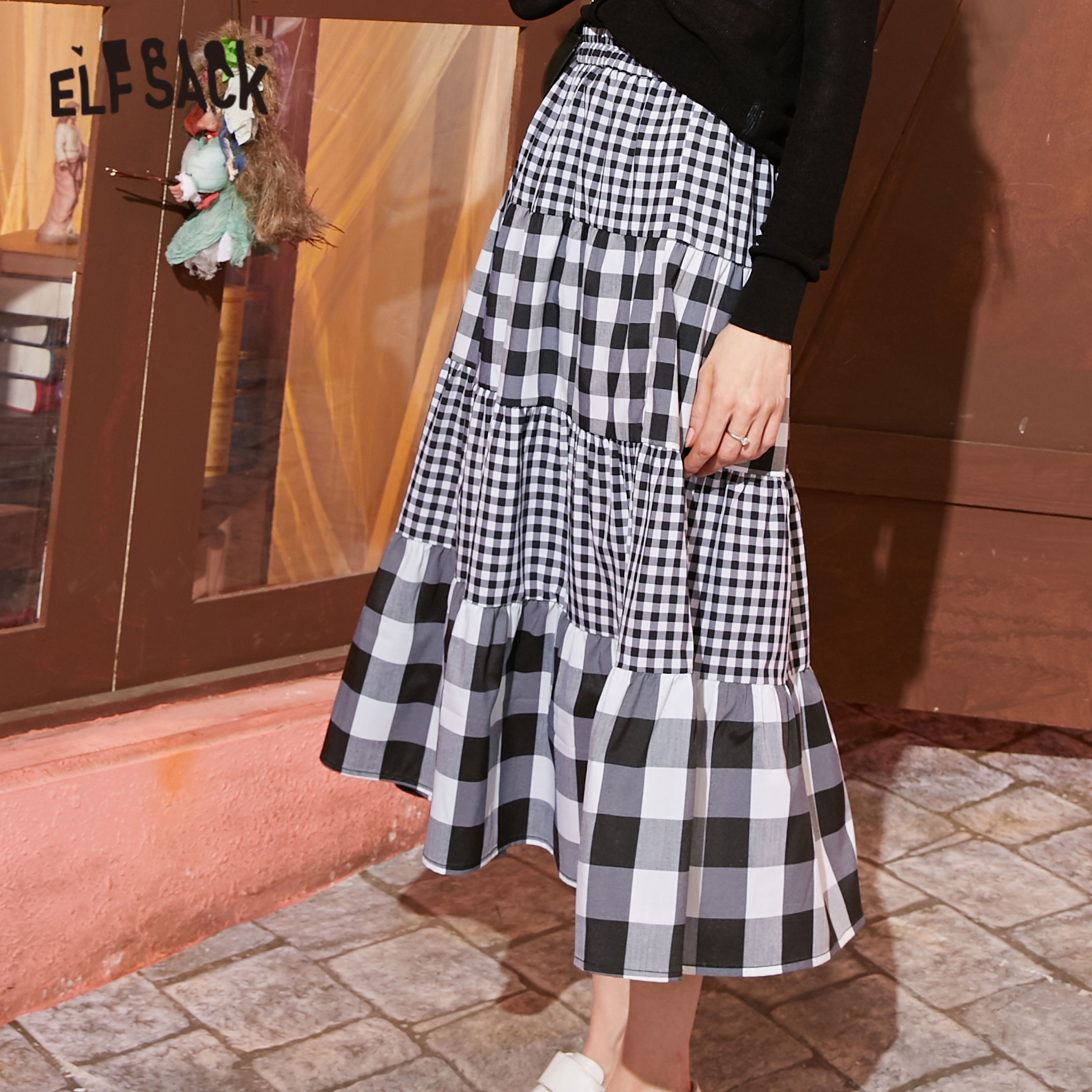 ELFSACK Black White Plaid Patchwork Casual Women Preppy Skirts 2020 Spring New Elegant Elastic Waist A Line Ladies Daily Skirt