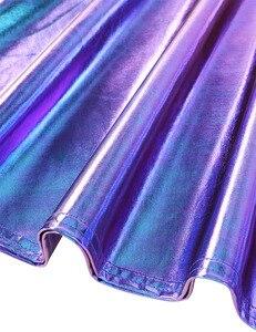 Image 5 - Robe holographique métallique métallique pour femmes, tenue de Festival, tenue brillante, boîte de nuit, danse de chanteur, à bretelles
