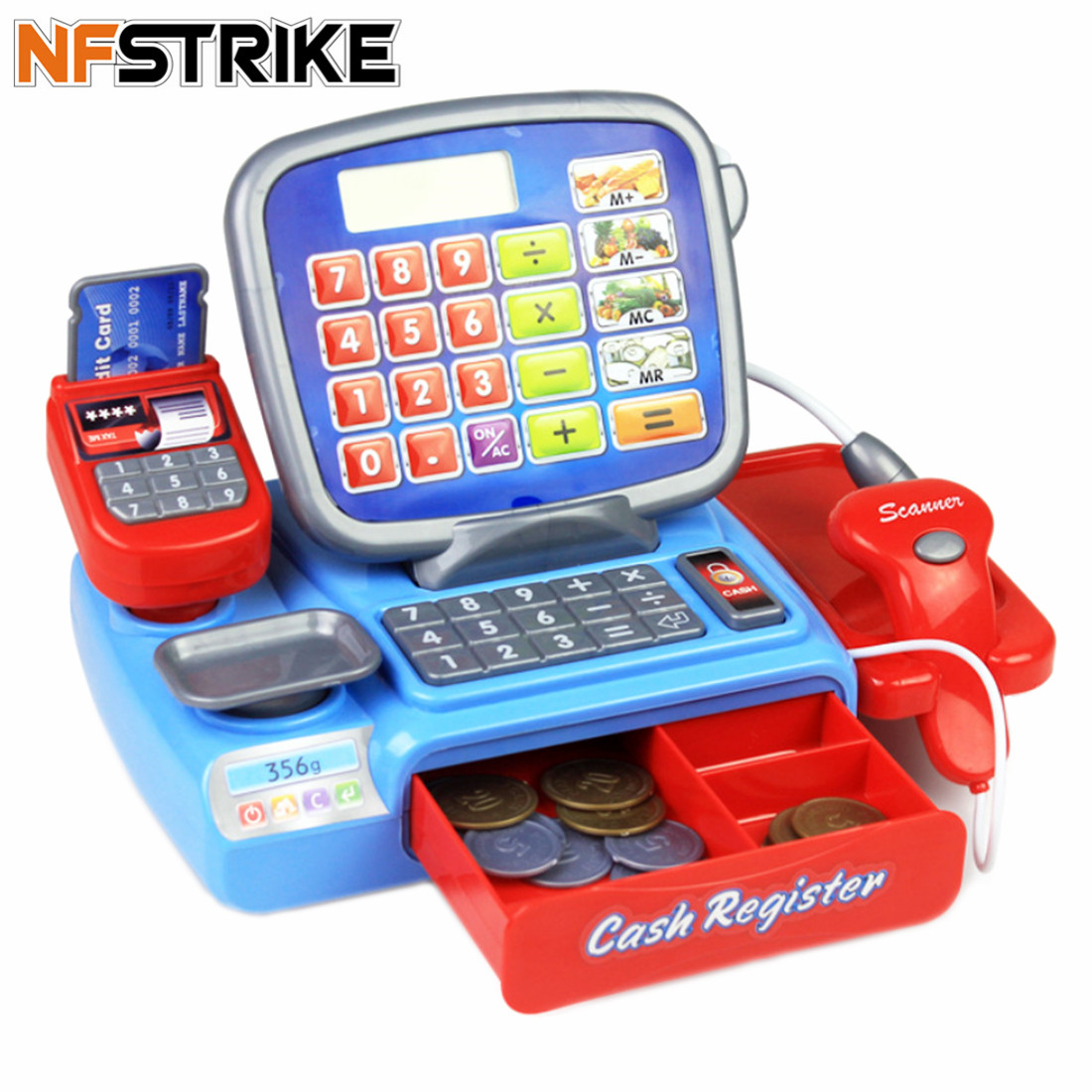 Children Pretend Play Toys Simulation Supermarket Cash Register Playset For Boys Kids Girls Toddler Groceries Toys Birthday Gift