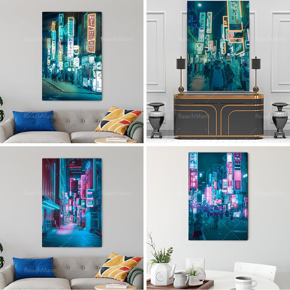 Азиатский неоновый город-неоновый городской пейзаж, украшение на стену-Современный художественный стиль-городской пейзаж на улице