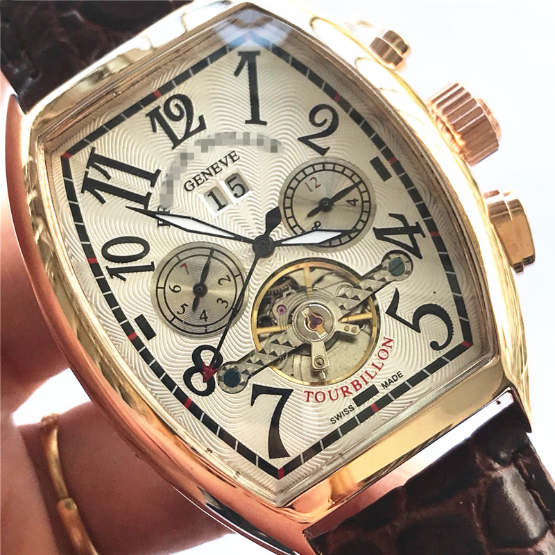 Franck Limitde Edition Automatic Mechanical Watch Muller Mens Watches Top Brand Luxury FM Wristwatch Leather Strap Gift For Men