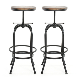 iKayaa Industrial Style Height Adjustable Swivel Bar Stool Natural Pinewood Top Kitchen Dining Breakfast Chair Bar Stool