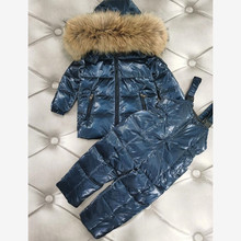-30℃ Russia Winter Children Hooded Warm Glossy Down Coat Kids waterproof Snow Outerwear For Boys Down Jackets For girls Y3402