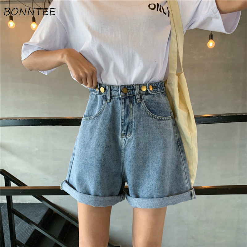 Shorts Women Single Button Trendy Elegant All-match High-quality Korean Style Leisure Daily Womens Female Lovely Simple 2019 New
