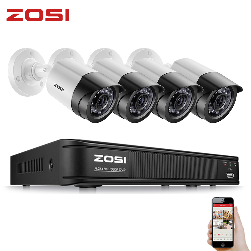 ZOSI HD 2MP Video Surveillance CCTV System 8CH Full HD 1080P HD TVI AHD DVR Kit 1080P Outdoor Security Bullet Camera HDD Disk