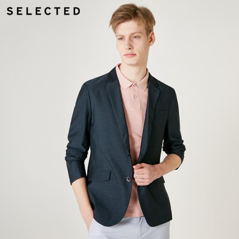 SELECTED Men's Slim Fit Business Casual Blazer Pure Color Jacket T 419208508