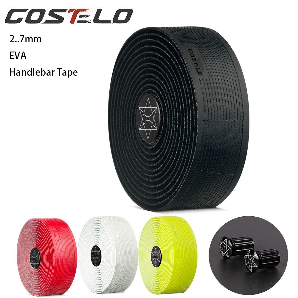 Costelo 2.7mm Road Bike Bicycle Handlebar Cork EVA PU Bar Tape Professional Cycling Damping Anti-Vibration Wrap With 2 Bar Plugs