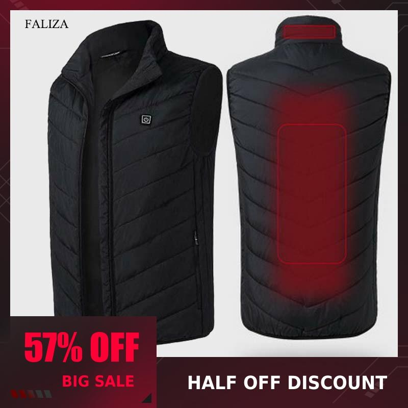 FALIZA USB Heated Vest Men Winter Heating Jacket Male Waistcoat Thermal Warm Clothing Feather Sleeveless Gilet Homme Vests MJ117Vests & Waistcoats   -