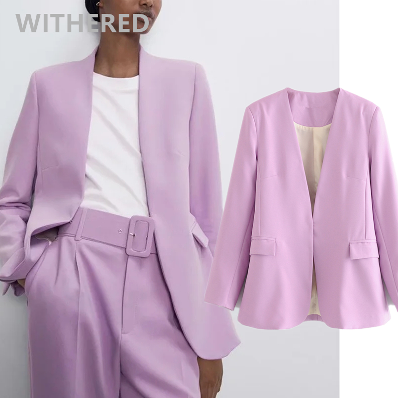Withered England Office Lady Simple Lavender Casual Blazer Feminino Blazer Women Blazer Mujer 2020 Women Blazers And Jackets Top
