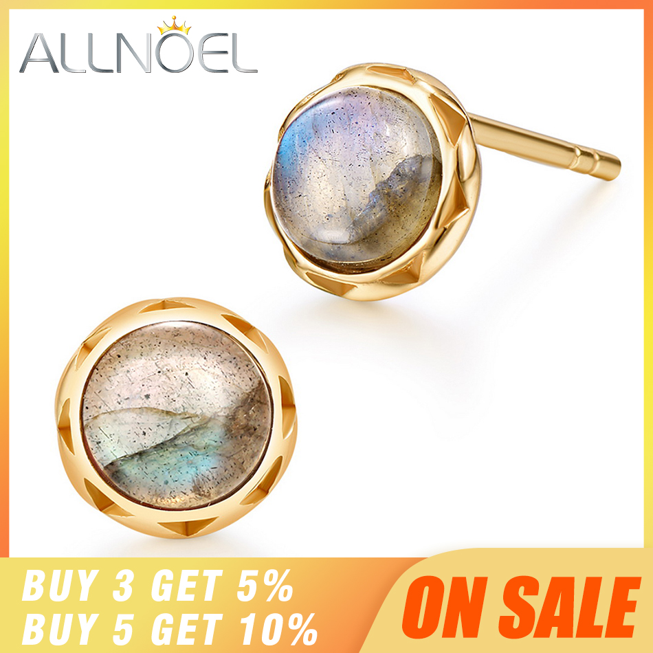 ALLNOEL Silver 925 Jewelry Stud Earrings Natural Labradorite Gemstone Designer Earrings For Women Luxury Wedding Brand Hot Sale
