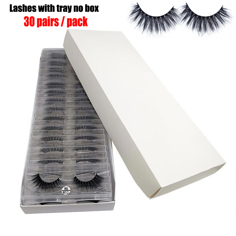 MB Mink Lashes 30 Pairs/Pack Eyelashes 3D Mink Lashes With Tray No Box 100% Hand Made Full Strip Eye Lashes  Wholesale