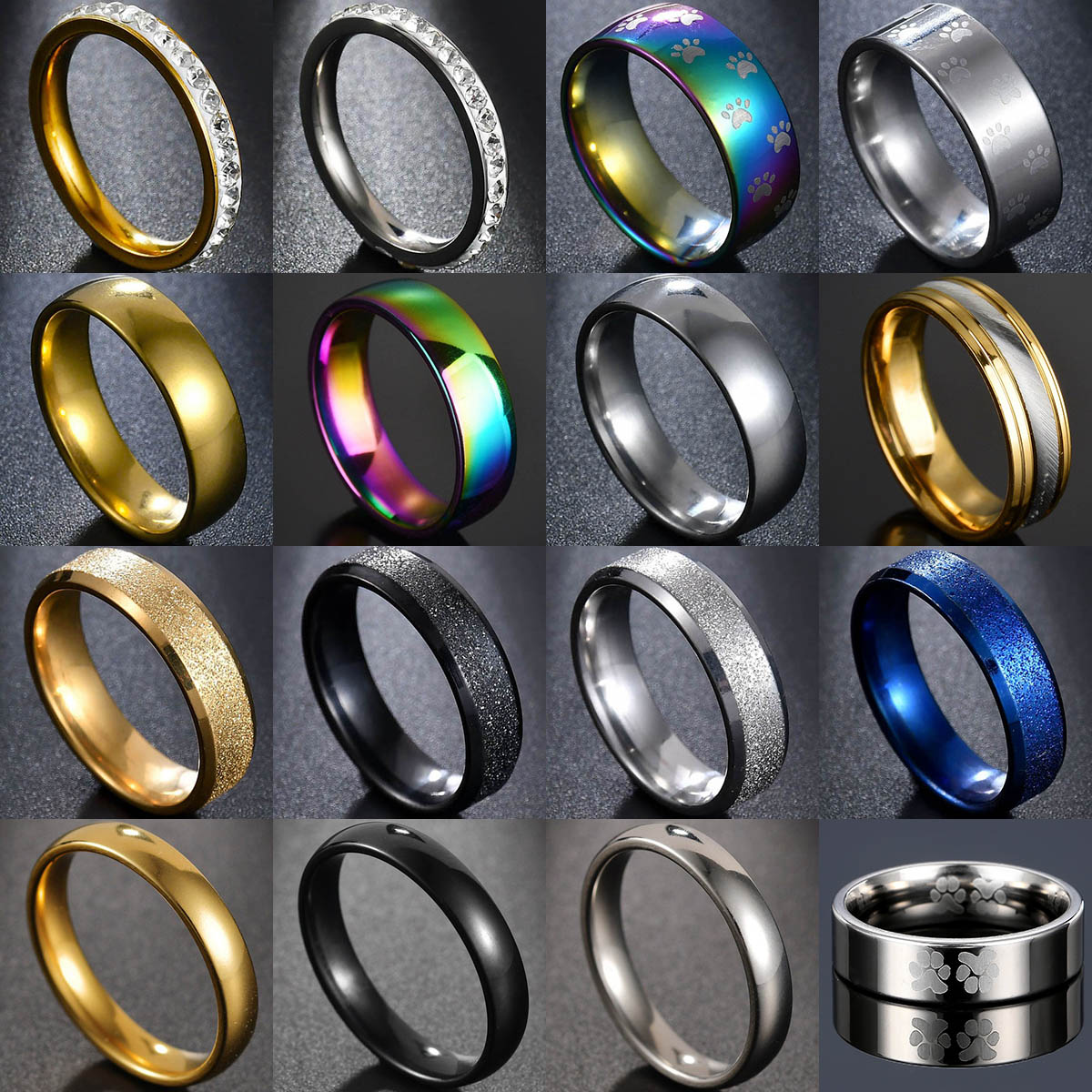 Quality GoldColor Wedding Bands Ring For Women Men Jewelry Stainless Steel Engagement Ring Couple Anniversary Gift Amazing Price