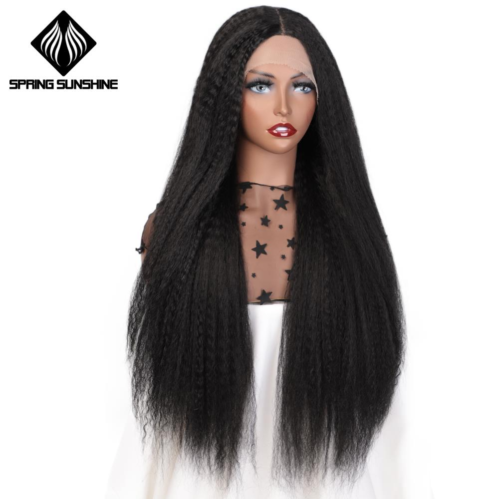 Spring Sunshine Synthetic Lace Front Wigs Long Yaki Straight Ombre Hair 66cm Middle Part Hair For Black Women Dark Brown Root