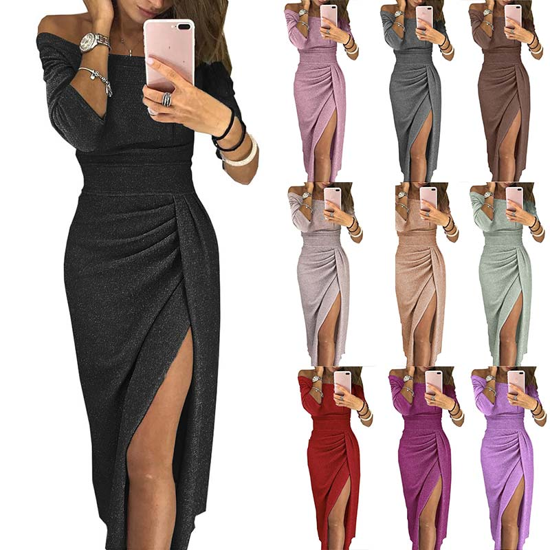 Neck Dress Glitter Evening Formal Boat Fashion Women Dress Party Sexy Elegant