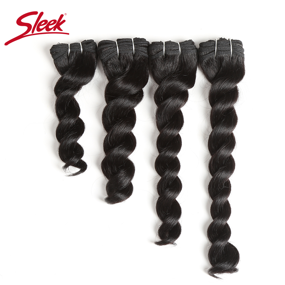 Sleek Hair Indian Nature Deep Wave Curl Human Hair Double Drawn Natural Color 1B/30# 33# 160 Grams Bundles Hair Extension  4Pcs