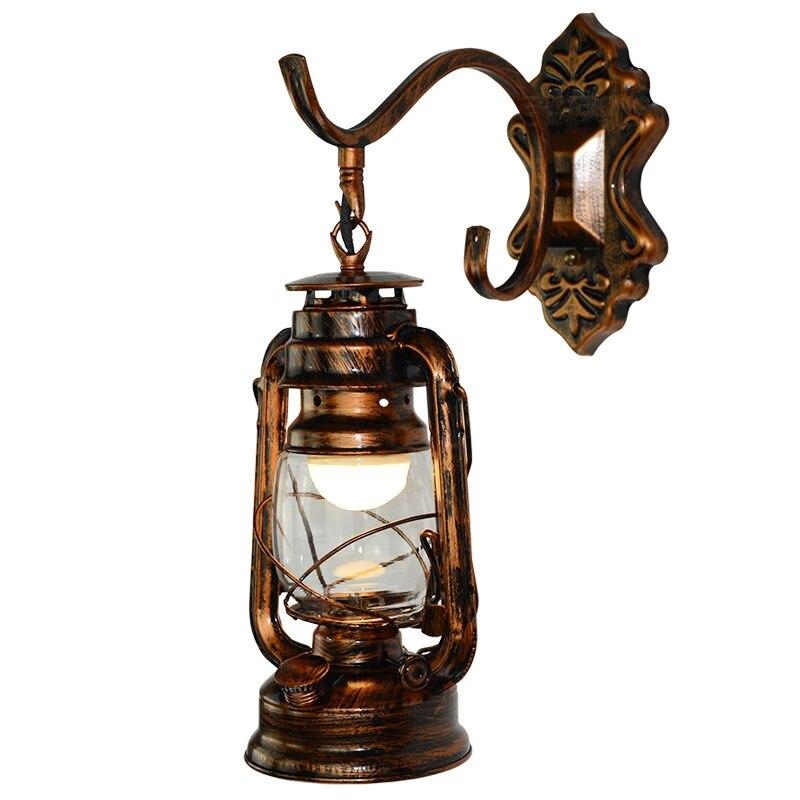 Bronze Creative Retro Lanterns Personality Kerosene Lanterns Iron Bar Cafes Cafe Wrought Iron Wall Lamp Bronze