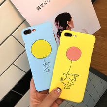 Phone Cases for iPhone 6 6S 7 8 Plus Case Pink Yellow Cartoon Balloon Painted Matte Mobile Phone Housings Cover Case
