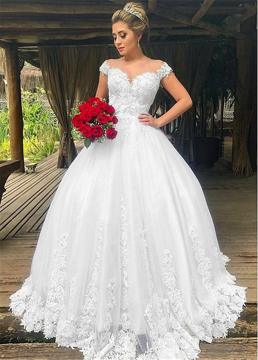 Fashionable Tulle Off-the-shoulder Neckline Ball Gown Wedding Dresses With Beaded Lace Appliques Bridal Gowns
