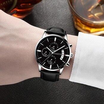 2021 Relogio Masculino Watches Men Fashion Sport Stainless Steel Case Leather Band watch Quartz Business Wristwatch Reloj Hombre - Black Silver Black