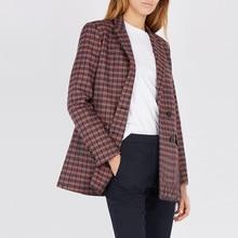Women Coat 2019 Autumn / Winter New Classic Houndstooth Plaid Contrast Lapel Long Sleeve Women Blazers Jackets