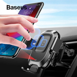 Soporte de teléfono Baseus para coche para iPhone Samsung inteligente infrarrojo Qi cargador inalámbrico de coche soporte de ventilación de aire para teléfono móvil