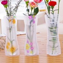 Portable Eco-friendly Flower Cute Foldable Vase Wedding Office Home Decoration Random PVC Plastic Flower Vase