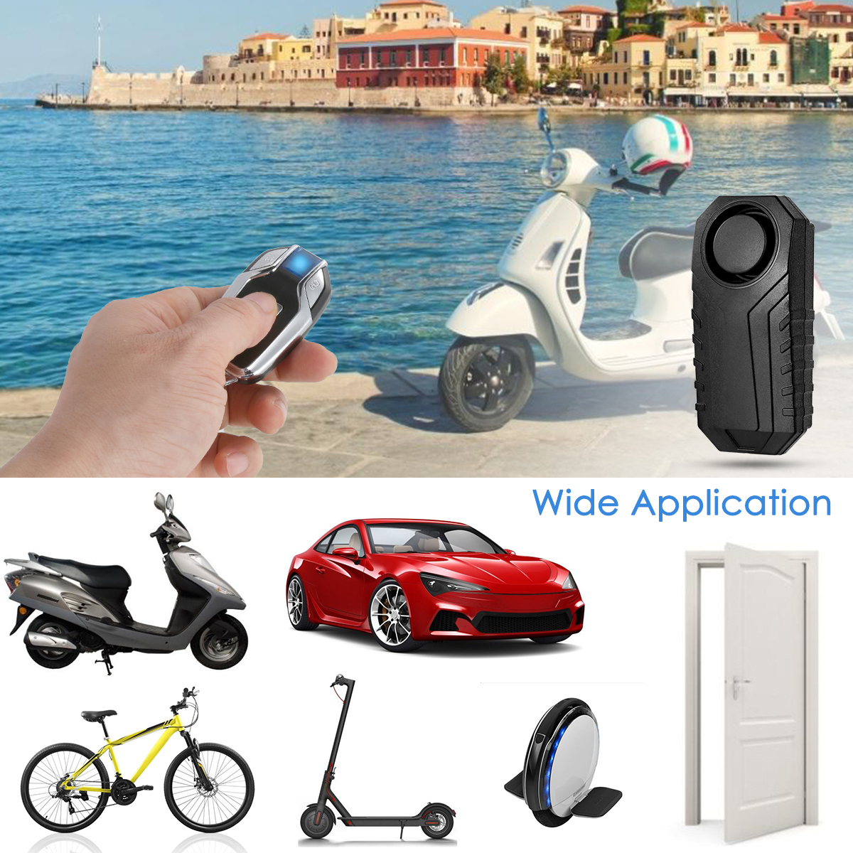 113dB Anti-Theft Wireless Alarm Vibration Remote Control Motorcycle//Bicycle IP55
