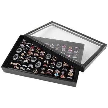 100 Grids Jewelry Rings Display Box Storage Tray Jewelry Ring Carrying Tray Holder Cufflinks Storage Box Organizer Women's Gift