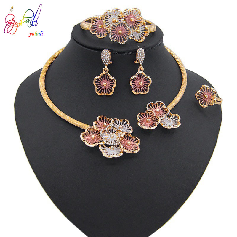 Yulaili Top Quality New Fashion Austria Crystal Pendant Earrings Choker Bracelet Ring Nigeria Wedding Turkey Bridal Jewelry Sets in Jewelry Sets from Jewelry Accessories