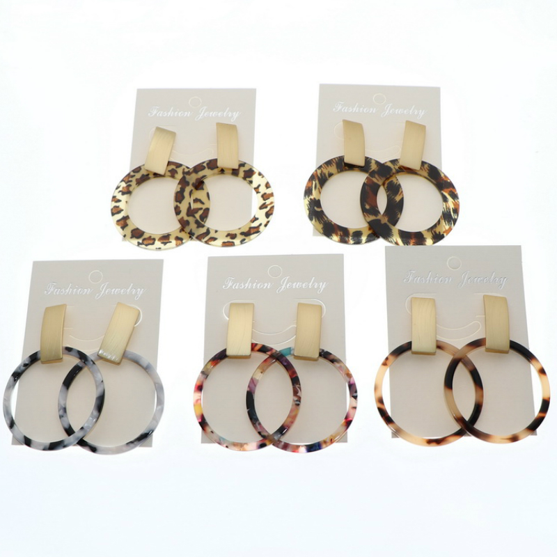 Big Acrylic Circle Earrings for Women Boho Resin Statement Earring Korean Leopard Drop Acetate Earring 2020 Fashion Za Jewelry