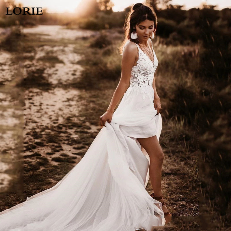 LORIE Boho Wedding Dress Spaghetti Strap Appliqued Lace Beach Wedding Gown Sexy Backless Bride Dresses 2019