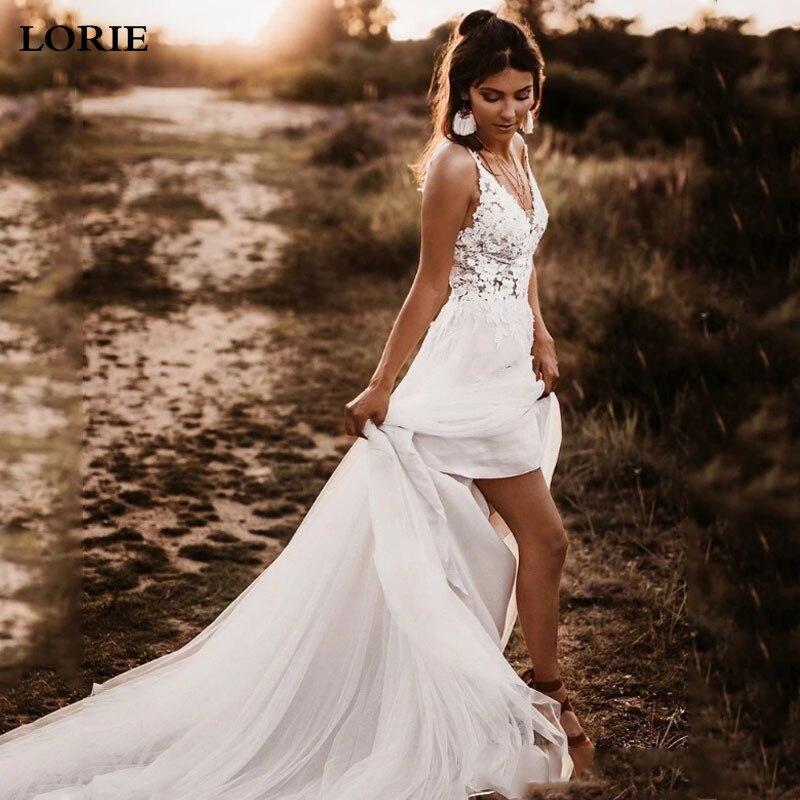 LORIE Бохо свадебное платье Спагетти ремень Аппликация Кружева свадебное пляжное платье сексуальные свадебные платья без спинки 2019 Свадебные платья      АлиЭкспресс