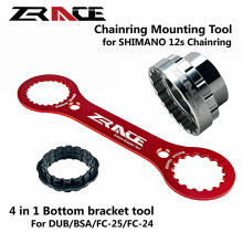ZRACE 4 in 1 Bottom Bracket Wrench Tool And 12s Chainrings Mounting Tool, For SRAM DUB, SHIMANO BSA / FC-25 / FC-24 Bike Tools