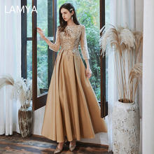 LAMYA Banquet Golden Satin A Line Evening Dress Elegant Appliques Party Prom Gown Three Quarter Woemen Customized Robe De Soiree(China)