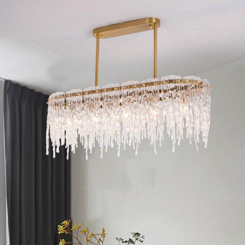 Современный дизайн, прямоугольная хрустальная люстра, роскошный светодиодный светильник, AC110V-240 V, для ресторана, гостиной, Подвесная лампа