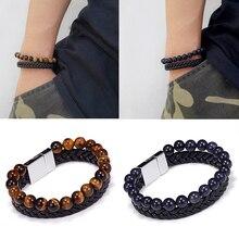 8mm Natural Stone Black Genuine 7 Chakra Leather Bangle & Bracelet Mens New Fashion Magnetic Buckle Male Jewelry