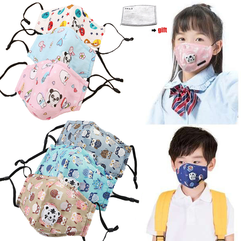 1Pcs PM2.5 Masks Ffp3 With Valve Anti Dust  Children Cartoon Panda Thicken Reusable Masks Dust Mask Fits 2-10 Years Old Kids
