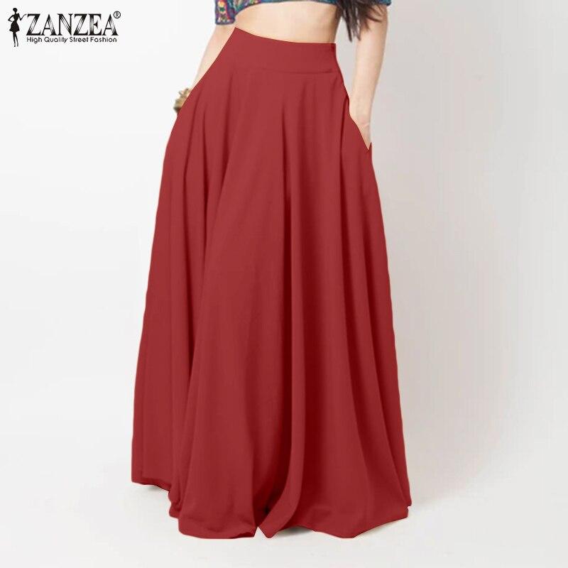 Women Maxi Long Skirts ZANZEA Spring High Waist Solid Skirts Casual Elegant A-line Party Beach Faldas Saia Female Loose Jupe